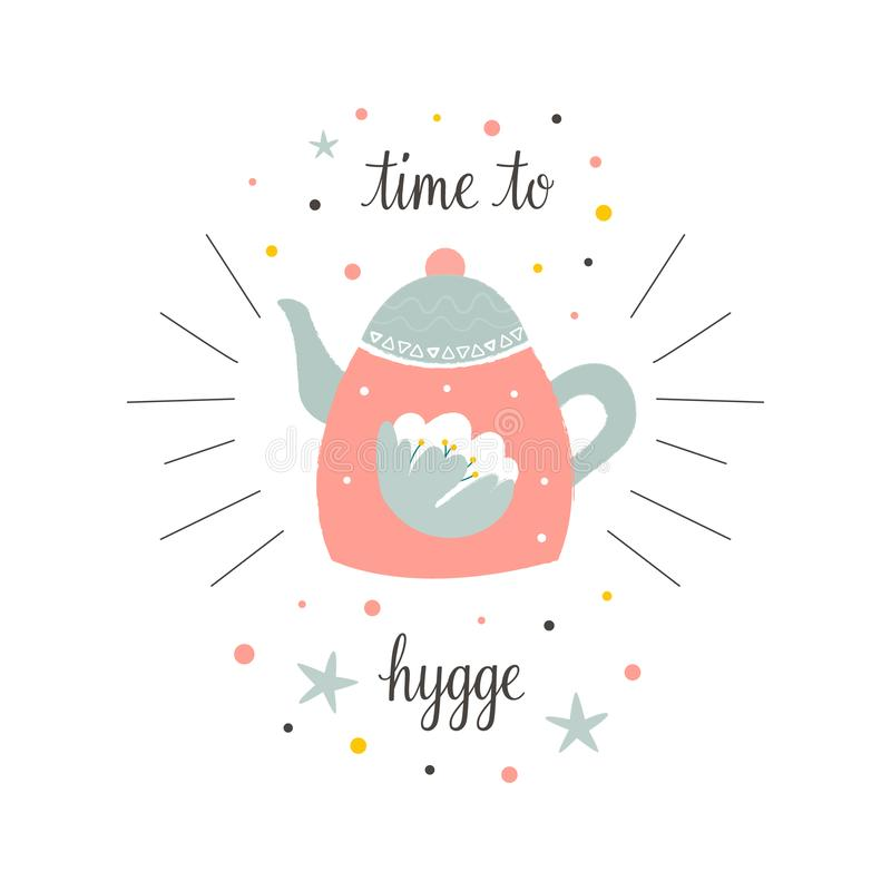 Cute teapot in scandinavian style. Time to hygge. Hand drawn card royalty free illustration