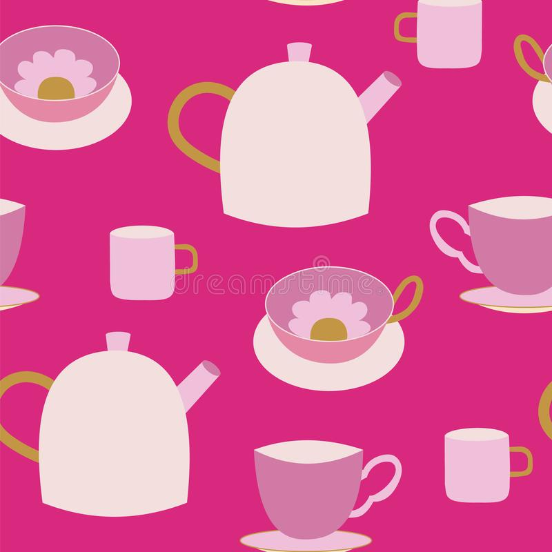 Cute teapots and teacups pink seamless pattern. vector illustration