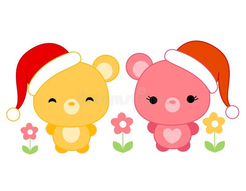 Download Cute Teddies Wearing Santa Hat Stock Vector - Image: 16175907