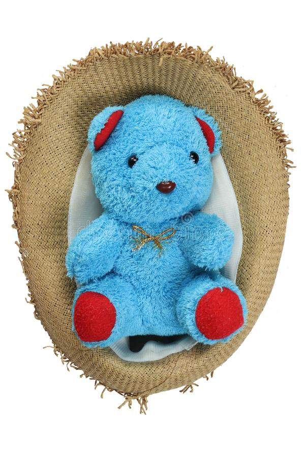 Cute teddy bare doll, in Straw hat isolated on white background stock photo