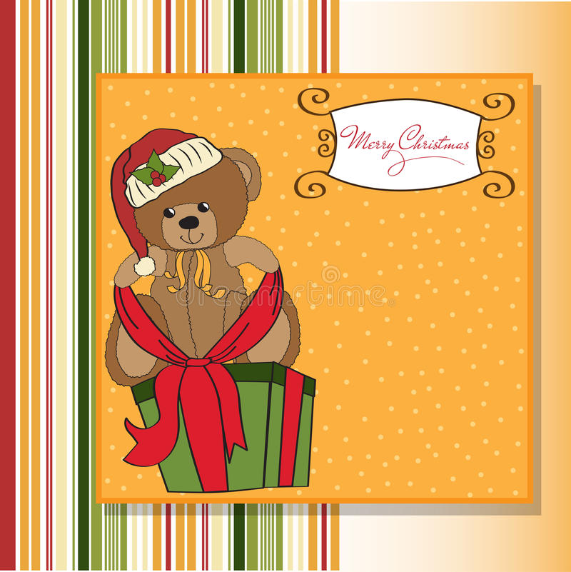 Download Cute Teddy Bear With A Big Christmas Gift Stock Illustration - Image: 22493091