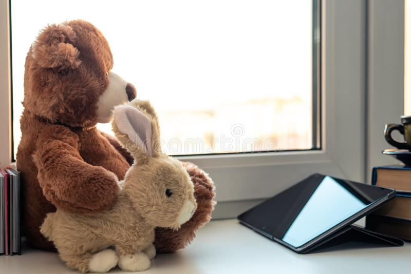 Cute Teddy Bear and bunny looking in tablet computer or  touch pad at home on window. Internet Surfing Or Computer Work Concept, education, baby, child, learn royalty free stock photos
