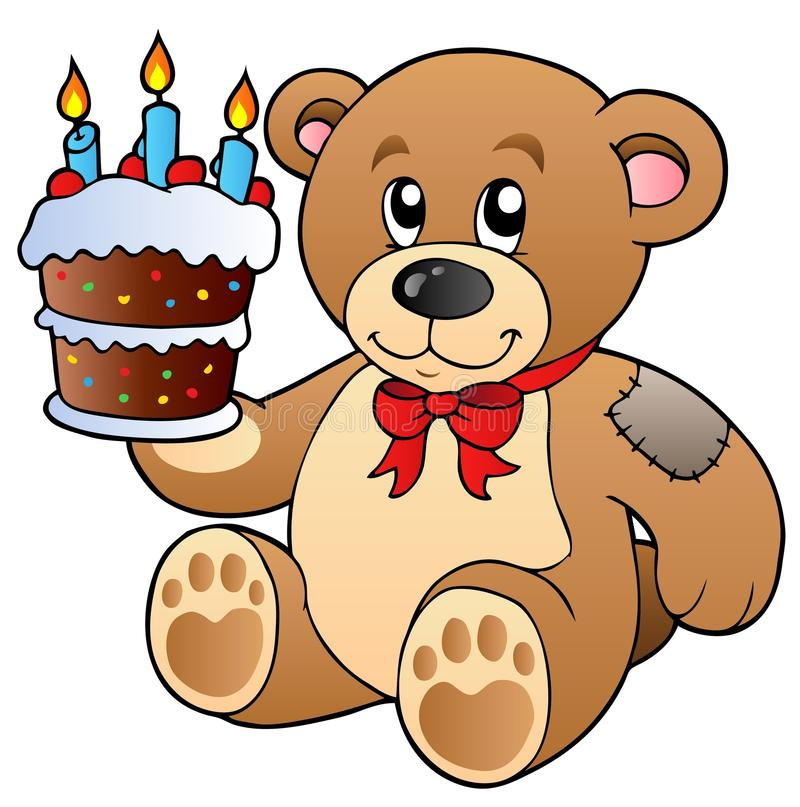 Cute teddy bear with cake stock illustration