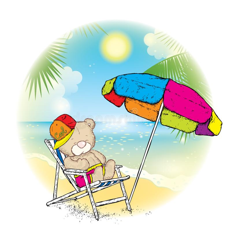 A cute teddy bear in a cap sunbathing in a chaise longue under a multi-colored umbrella. Rest near the sea. Vector illustration fo stock illustration