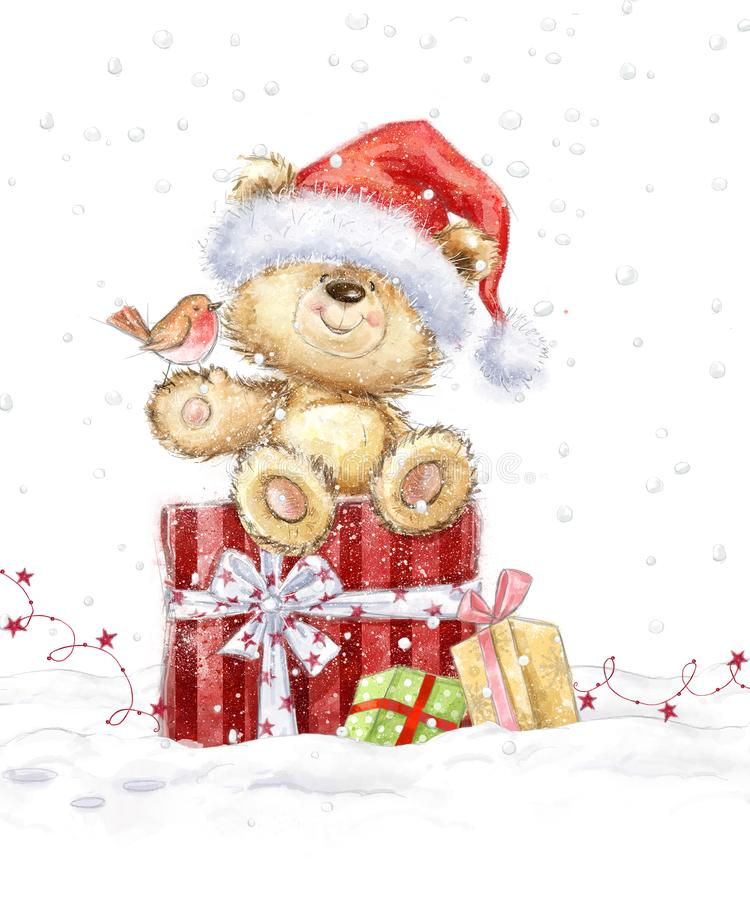 Cute teddy bear with christmas gifts in the Santa hat. Hand drawn teddy bear.Christmas greeting card. Merry Christmas. New year royalty free illustration