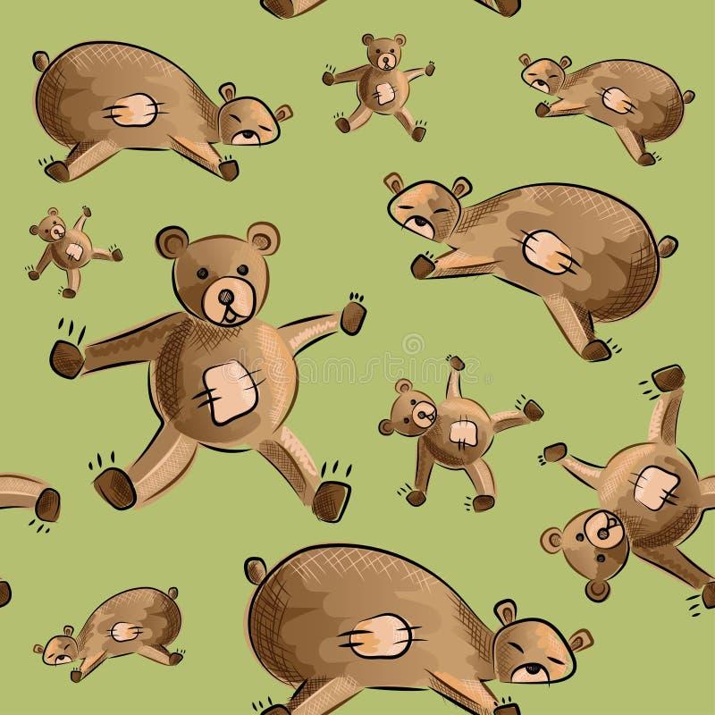 Cute teddy bear fabric pattern royalty free stock image