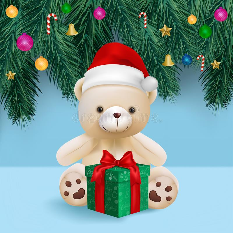 Cute teddy bear and gift box on blue background for merry christmas card vector and illustration.  stock photo