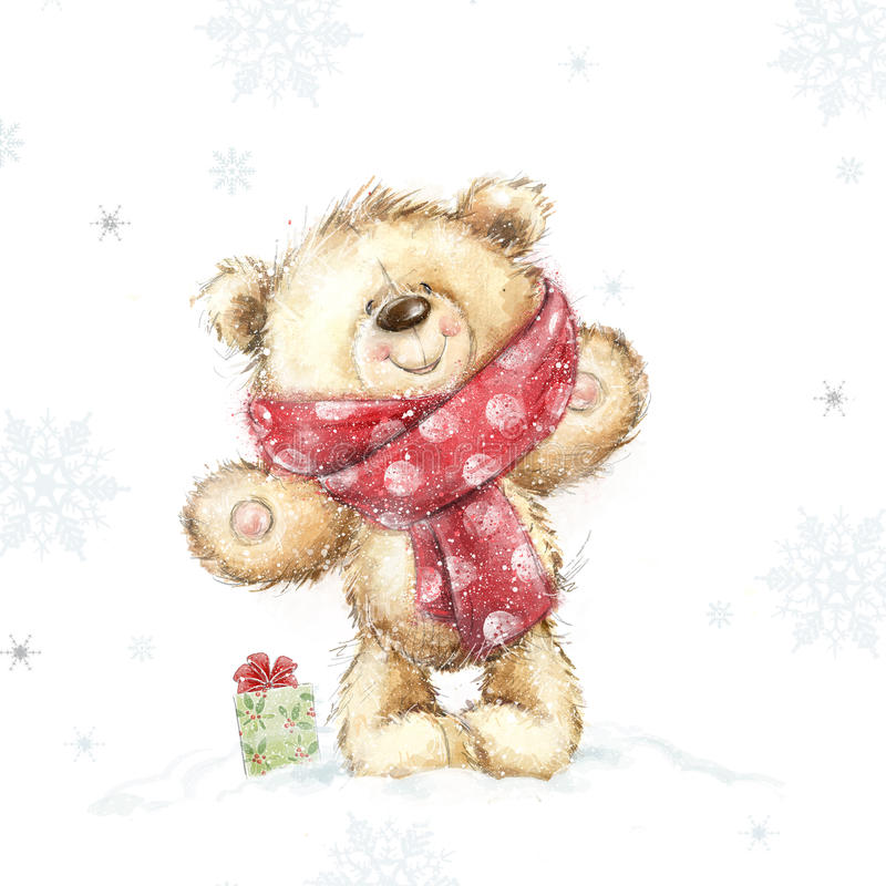 Cute teddy bear with the gift Christmas greeting card. Merry Christmas. New year, royalty free illustration