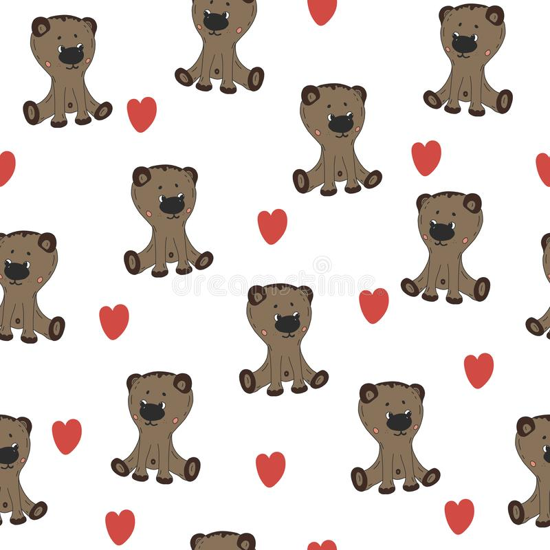 Cute teddy bear with heart, bedding pattern for kids, wrapping paper, vector textile fabric print. Cute braun teddy bear with heart, bedding pattern for kids vector illustration