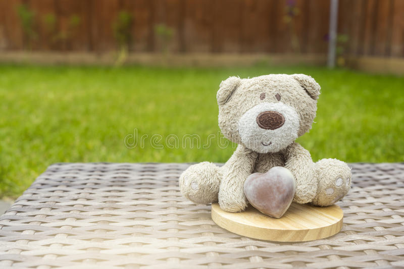 A cute teddy bear holding brown milk chocolate heart sitting on the top of round wooden coaster on plastic rattan in the garden. With blurry green grass behind stock photos