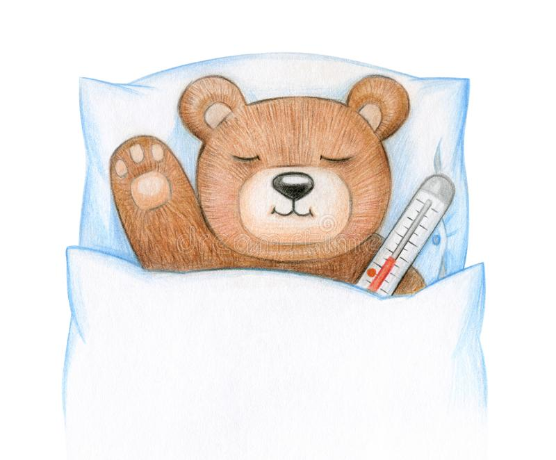Teddy ill in bed. Cute Teddy bear ill in bed stock illustration