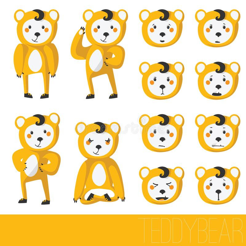 Cute teddy bear isolated on white in various poses, with set of emotions on face. Vector character collection royalty free illustration