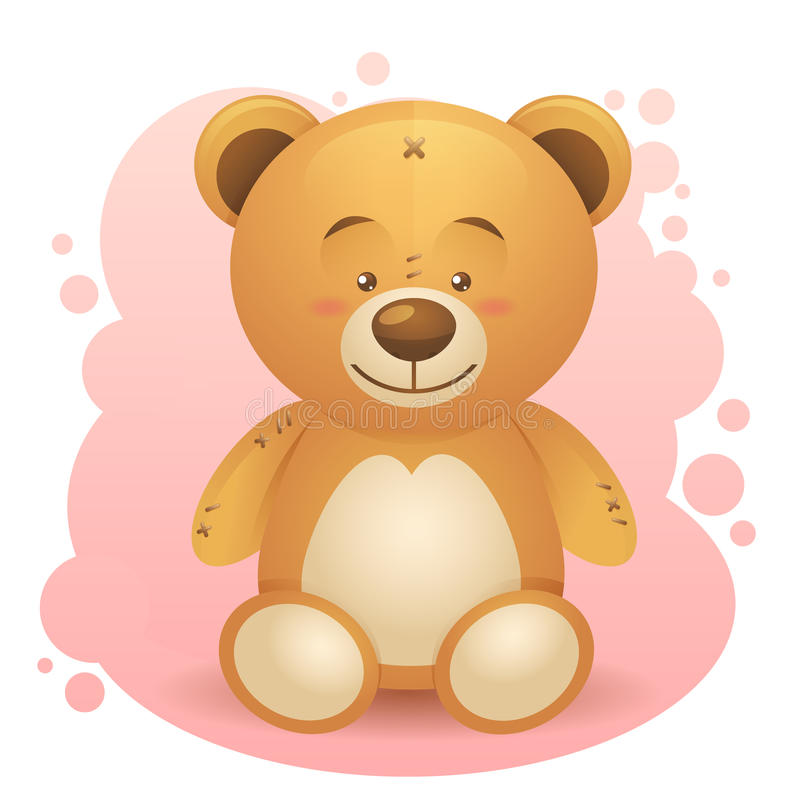 Cute Teddy Bear Realistic Drawing Isolated Stock Images