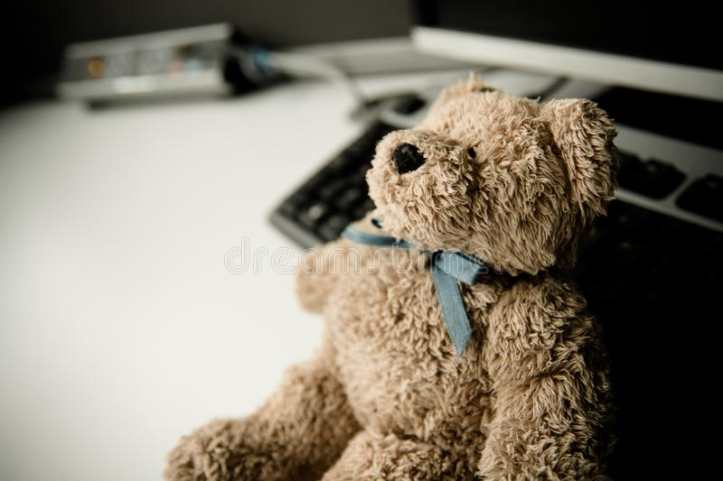 Teddy relaxing after a days work royalty free stock photography