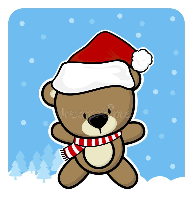 Cute teddy bear with santa claus red hat royalty free illustration