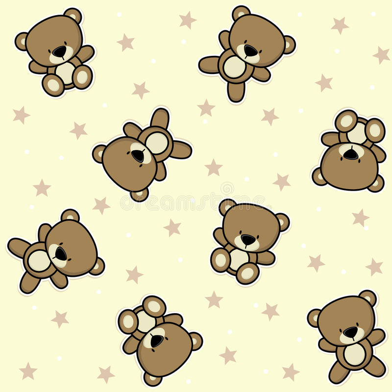 Cute teddy bear seamless background vector illustration