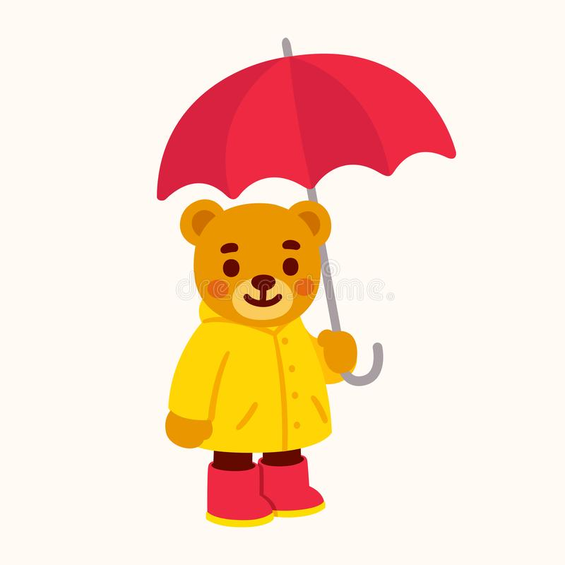 Cute teddy bear with umbrella. Cute cartoon teddy bear with umbrella. Bear character drawing with yellow raincoat and rain boots. Isolated vector clip art royalty free illustration