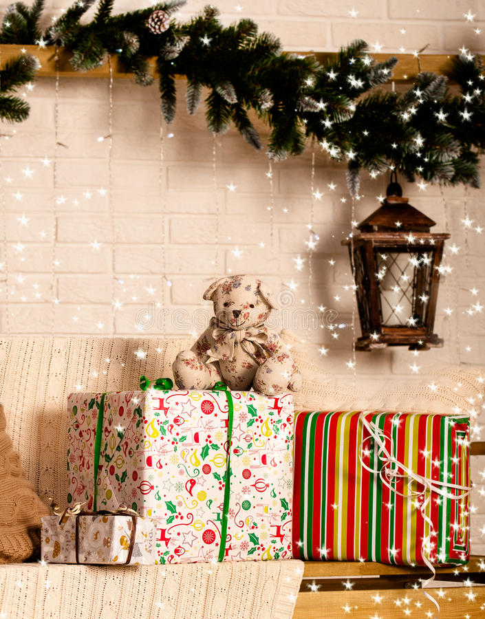Free Cute Teddy Bear With Gifts Stock Image - 35823721