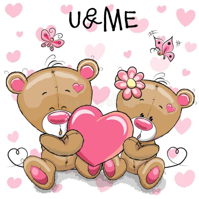 Cute Teddy Bears with heart vector illustration