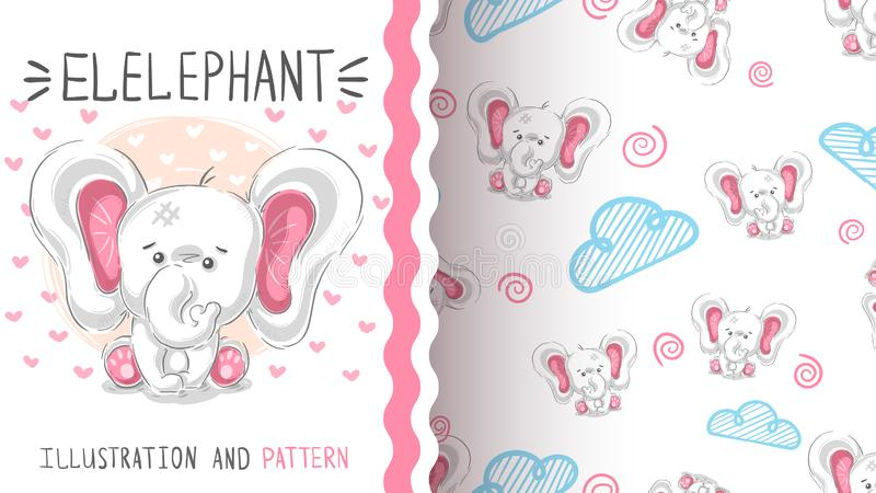 Cute teddy elephant - seamless pattern stock illustration