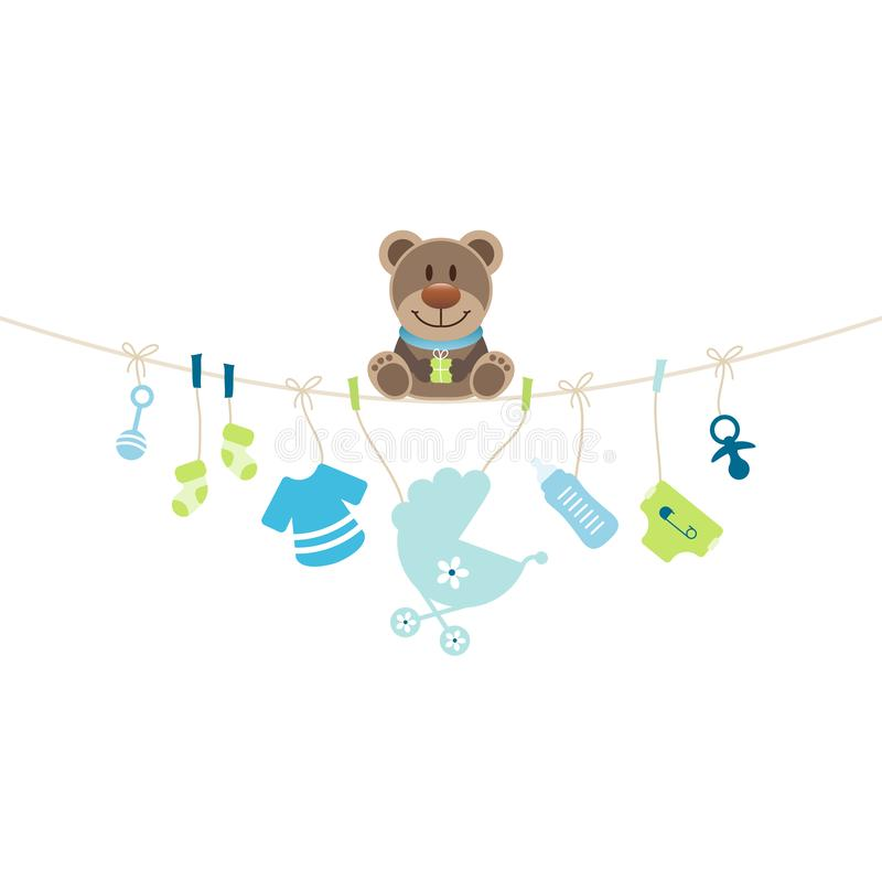 Teddy Sitting On String Curve With Hanging Baby Icons Boy vector illustration