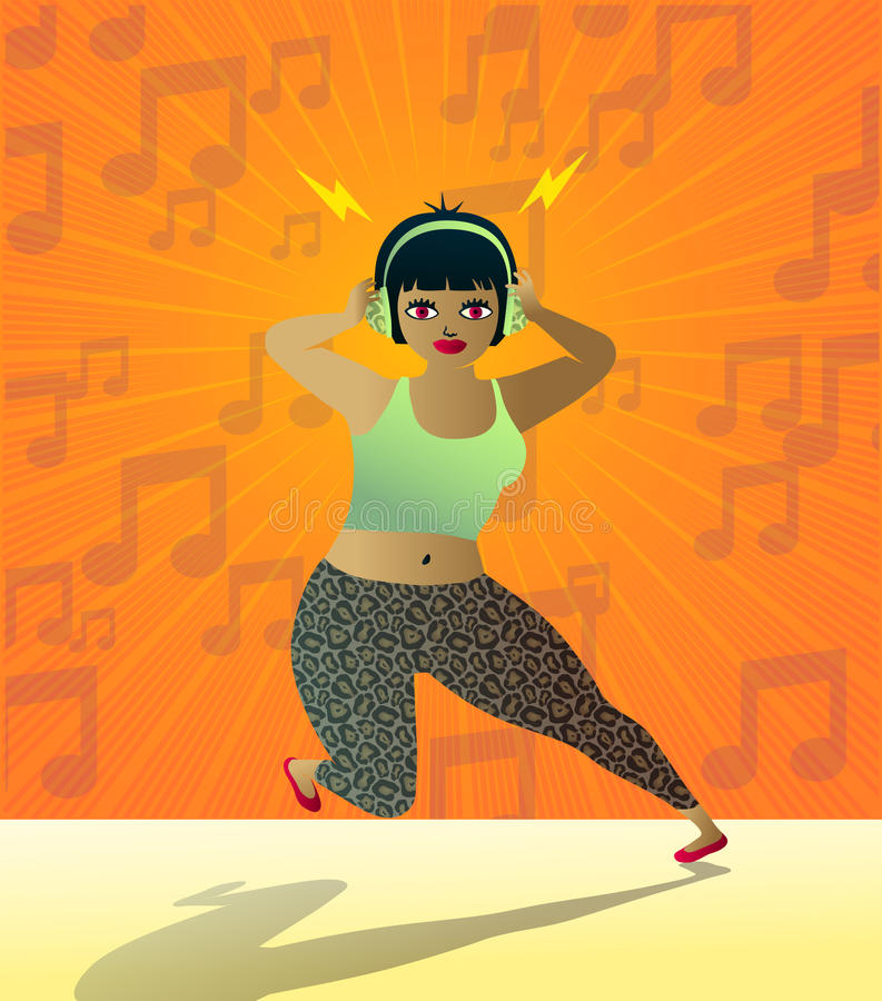 Cute teen girl listening to music with headphones vector illustration