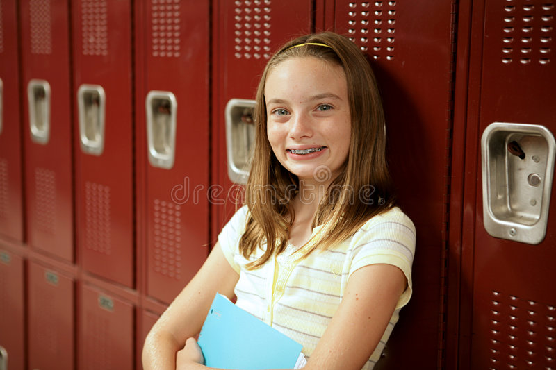 Download Cute Teen Girl by Lockers stock image. Image of hall, children - 2968291