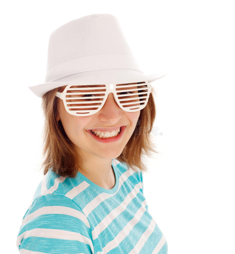 Download Cute Teen Girl In Special Sunglasses Stock Image - Image: 33413489