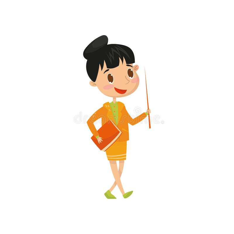 Cute teen girl wants to be school teacher when grow up. Cartoon child character holding book and pointer. Dream of stock illustration