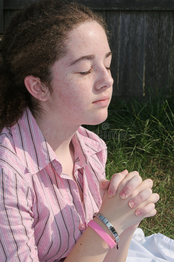 Download Cute Teen Praying 2 stock photo. Image of hands, park, grace - 256356