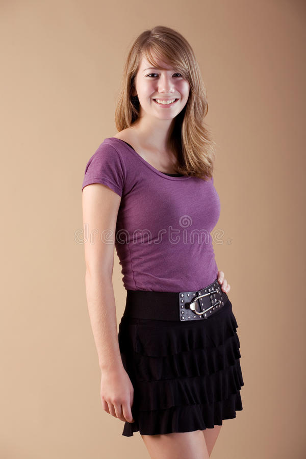 Download Cute teen wearing skirt stock photo. Image of cute, smile - 20785686