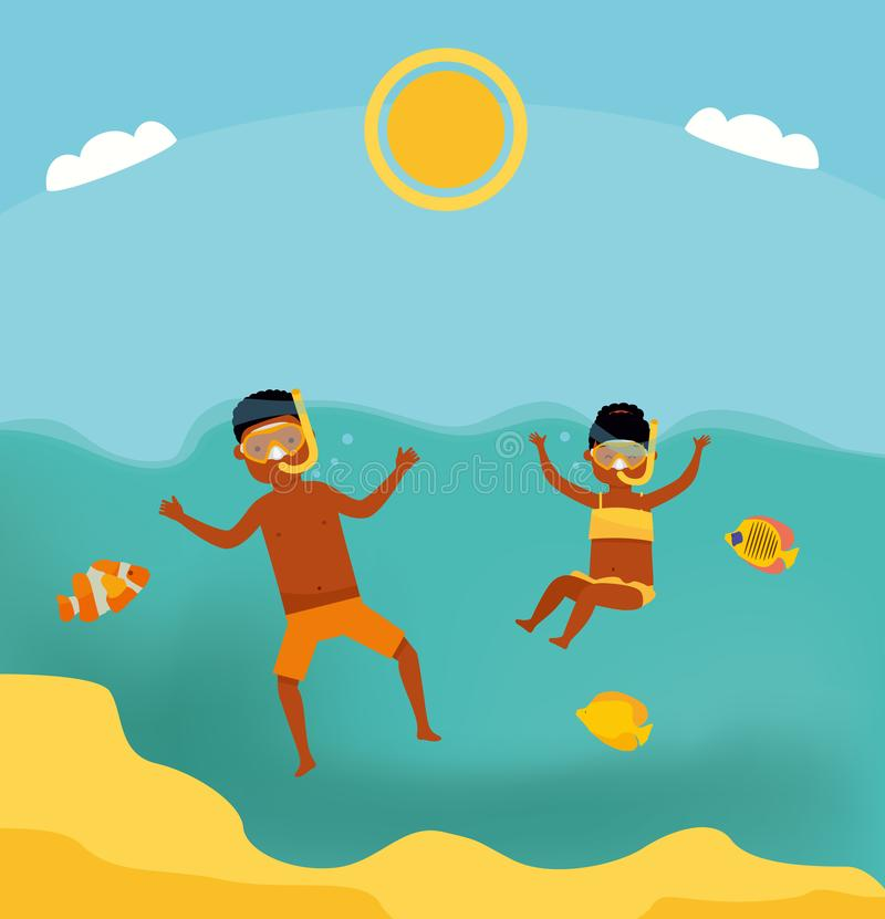 Cute teenage boy and girl swimming underwater in shallow turquoise water at tropical beach. Cartoon flat style illustration. Afric vector illustration