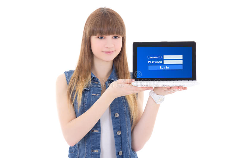 cute teenage girl holding laptop with login panel on screen isolated on white royalty free stock image