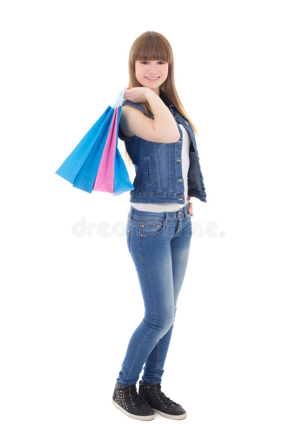 Free Cute Teenage Girl In Jeans Clothes With Shopping Bags Isolated O Stock Photo - 40037690