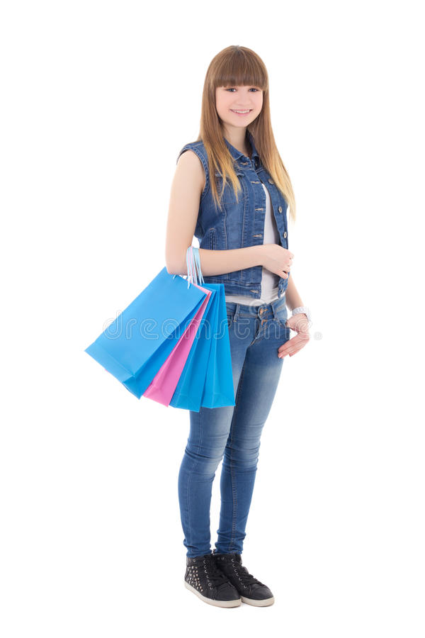 Free Cute Teenage Girl With Shopping Bags Isolated On White Stock Photo - 40253790