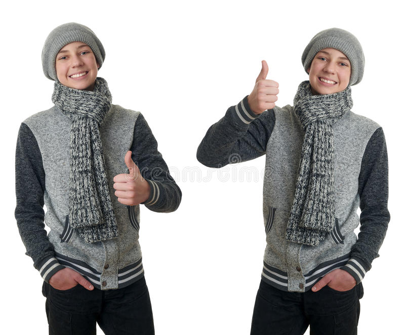 Cute teenager boy in gray sweater over white isolated background. Set of cute teenager boy in gray sweater, hat and scarf showing thumb up sign over white royalty free stock images
