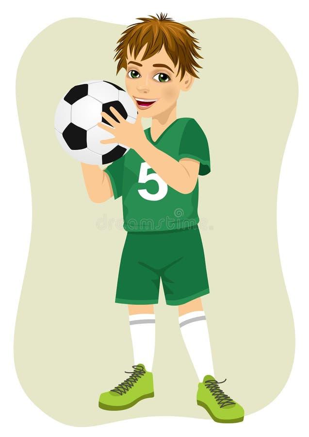 Cute teenager boy holding soccer ball. Cute teenager boy holding a soccer ball vector illustration