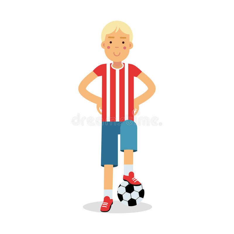 Cute teenager boy in sports uniform standing with a soccer ball cartoon character, kids physical activities vector. Illustration isolated on a white background vector illustration