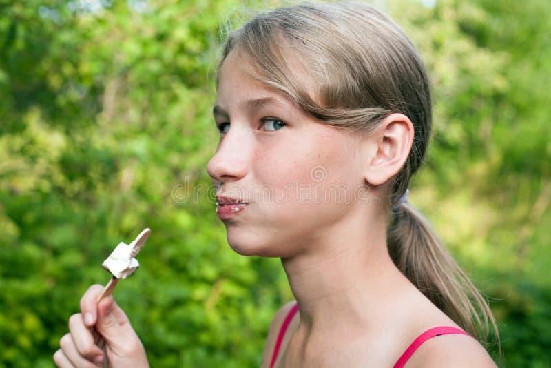 Cute teenager girl face closeup royalty free stock photography