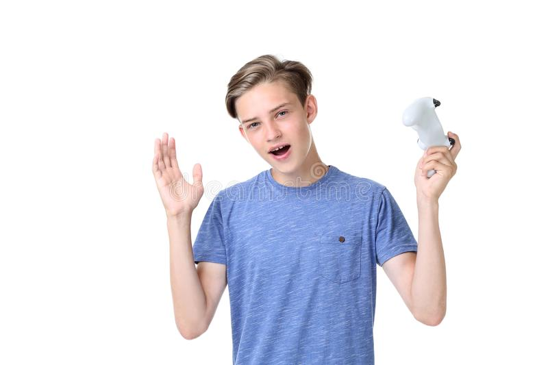 Teenager with joystick. Cute teenager with joystick on white background royalty free stock image