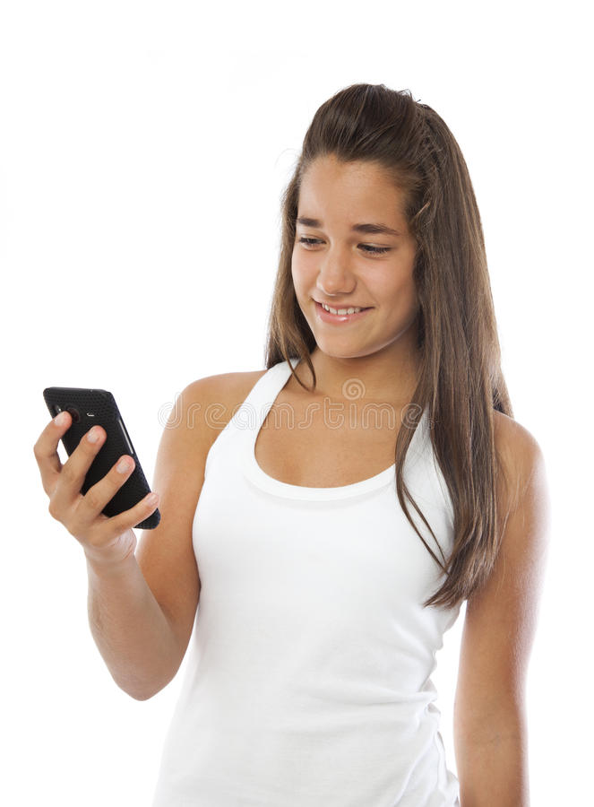 Download Cute Teenager Smiling With A Mobile Phone Stock Photo - Image: 20519828