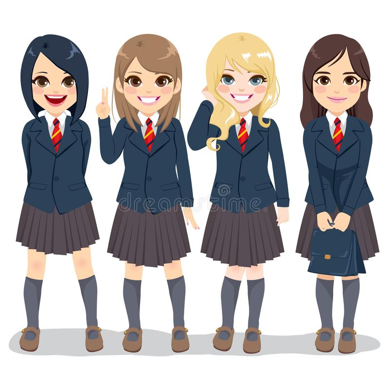 Cute Student Uniform Girls royalty free illustration