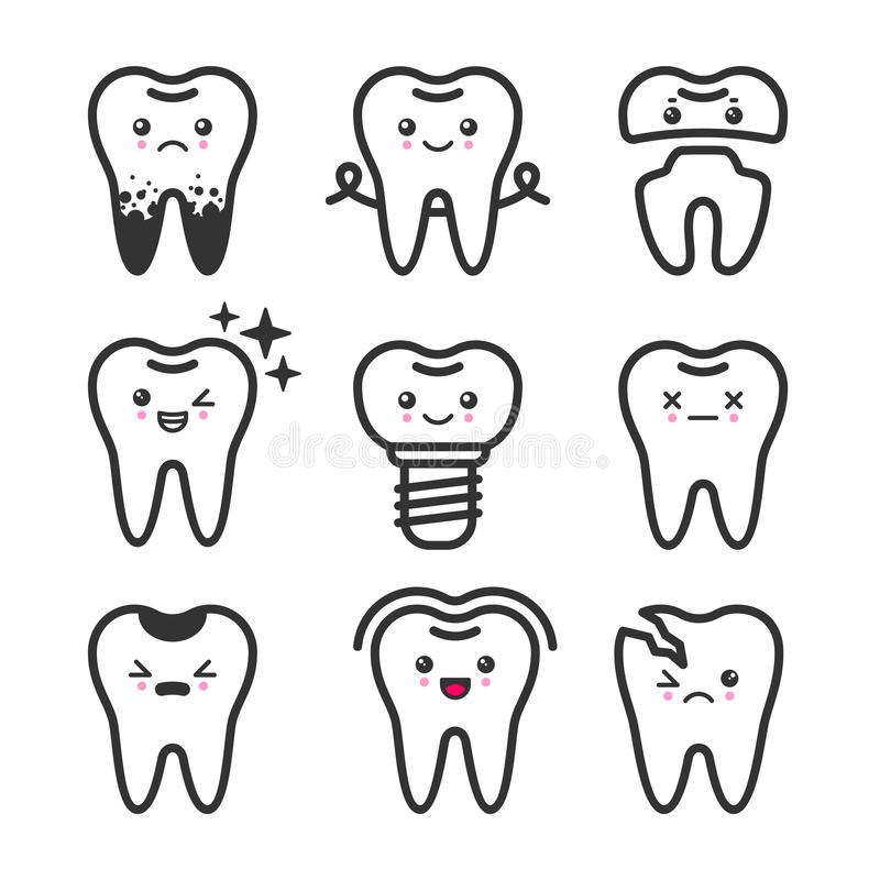 Cute teeth outline vector set with different emotions. Different tooth conditions vector illustration