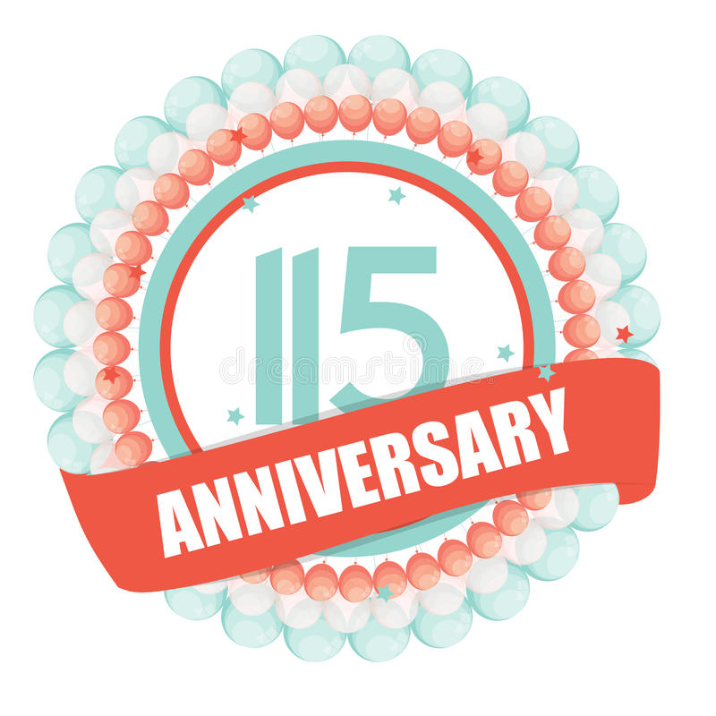 Free Cute Template 115 Years Anniversary With Balloons And Ribbon Vector Illustration Royalty Free Stock Image - 80754626