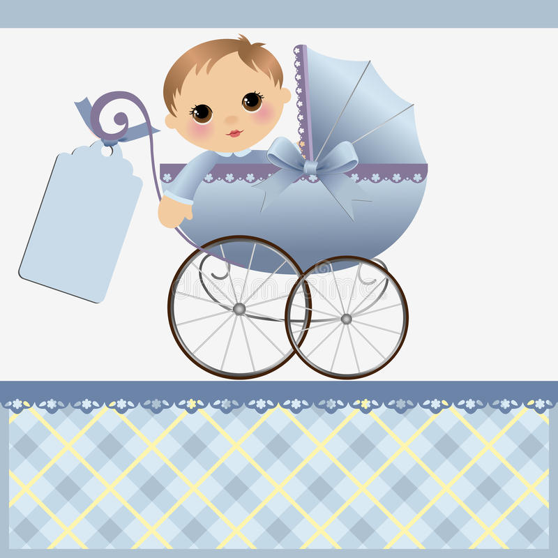 Cute template for baby card. Cute template for baby arrival announcement card stock illustration