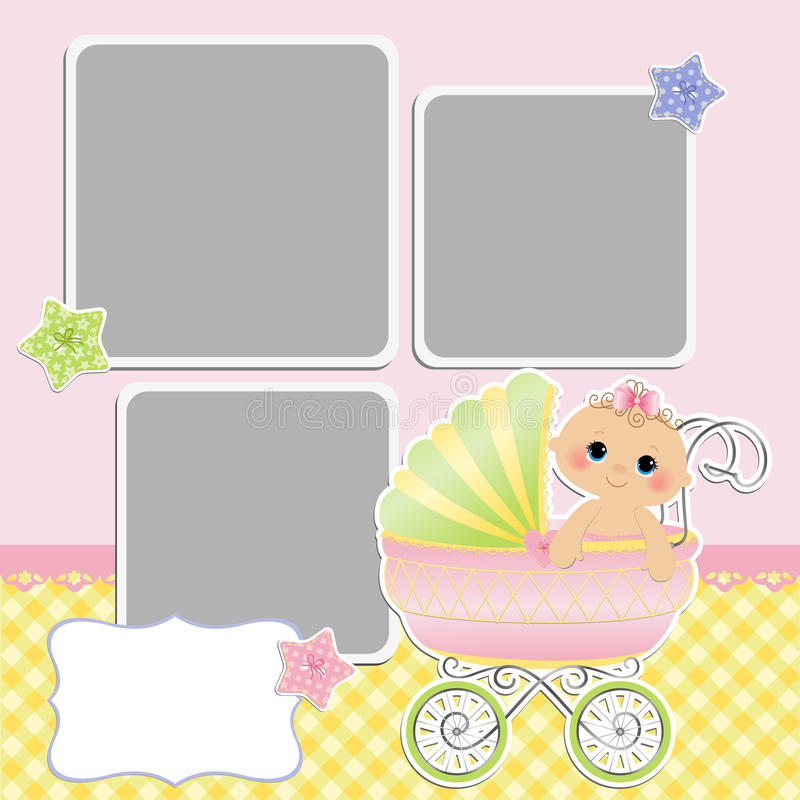 Cute template for baby's card stock illustration