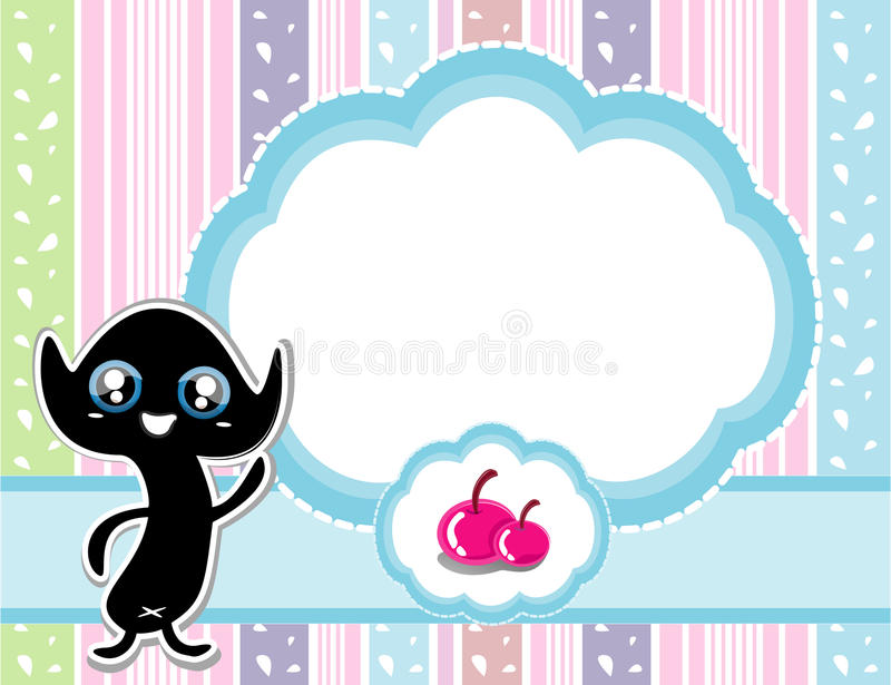 Cute template frame design for greeting card royalty free illustration