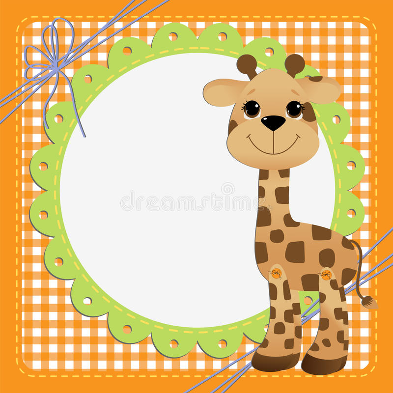 Cute template for postcard with giraffe vector illustration