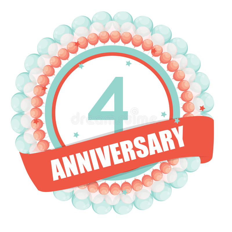 Cute Template 4 Years Anniversary with Balloons and Ribbon Vector Illustration. EPS10 royalty free illustration