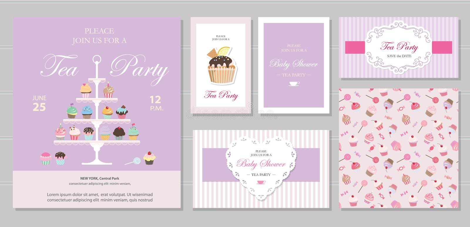 Cute templates with cupcakes stand and sweets in pastel colors. Cards and posters. For bridal, baby shower, birthday. vector illustration